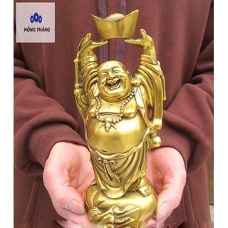Tượng phật di lặc nâng nén vàng bằng đồng thau phong thủy Hồng Thắng - 6513_46690016 thumbnail