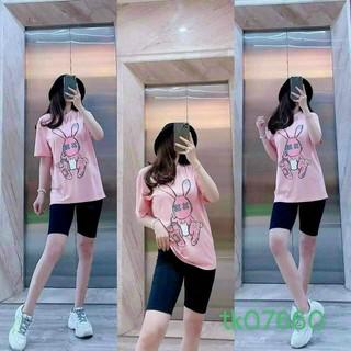 Set Đo Bo nữ Hi nh Sie u Ke t Ho p A o Thun Form Ro ng 100% Catton - TP21111 thumbnail