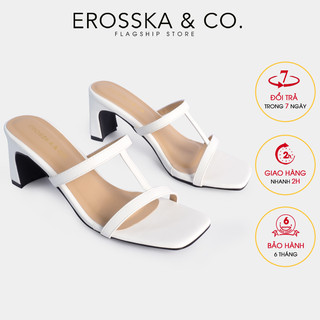 Erosska - Dép cao gót mũi vuông phối dây quai mảnh cao 7cm màu trắng _ EM077 - EM077WH thumbnail