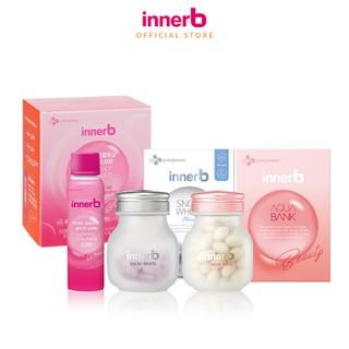 Combo 3 thực phẩm bảo vệ sức khỏe InnerB Aqua Bank (56 viên) + Viên uống hỗ trợ sáng da InnerB Snow White (28g) & Hộp 6 chai nước uống Collagen Vitamin C sáng da InnerB Glowshot (50mlx6) - TUINB00042CB thumbnail