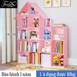 Kệ sách lắp ghép giá rẻ 16 ô kiểu mới hình ngôi nhà- khung nhựa hồng phối lưới sắt -Chọn màu theo phân loại-