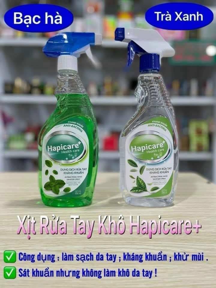 Dung dịch nước rửa tay kháng khuẩn Hapicare chai 500ml xịt khô nhanh - HAPICARE 500ML 1