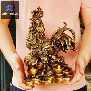Tượng linh vật con Gà Trống chất liệu đồng thau cao 30cm tặng xâu tiền lục đế phong thủy Hồng Thắng - 6520_46794313 thumbnail