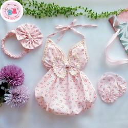 Quần áo trẻ em Set Váy Đầm Yếm Màu Hồng Hoa Nhí Cho Bé Gái Từ 3-12 kg Thích hợp đi chơi đi tiệc TẶNG KÈM TẤT VÀ TURBAN