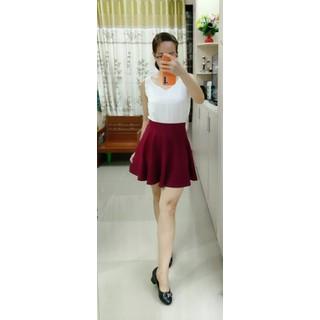 Váy xòe thun gân màu đỏ đô-Shop MỘC-Mã MV07 - MV07 thumbnail