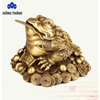 Tượng linh vật con cóc ba chân thiềm thừ ngậm tiền bằng đồng thau phong thủy Hồng Thắng - 6521_47344856 thumbnail