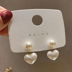 Cặp khuyên tai kim bạc s925 đính ngọc trai hình trái tim phong cách Hàn Quốc đơn giản cho nữ