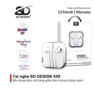 Tai nghe nhét tai SD DESIGN X55 chính hãng tương thích các dòng điện thoại jack 3.5mm, bảo hành Chính Hãng 1 đổi 1 - SD-X55 thumbnail