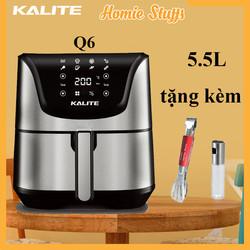 [Có tặng phẩm] Nồi Chiên Không Dầu Kalite Q6 - 5,5L chứa được 1 con gà 1.7kg - phù hợp gia đình 4-6 người - màn hình cảm ứng 8 chức năng tự nấu, công suất 1700kw