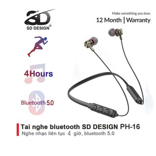 Tai Nghe Bluetooth Quàng Cổ PH-16 chính hãng SD DESIGN Kiểu Dáng Thể Thao Chống Ồn Bảo Hành 1 năm - SD-PH-16 thumbnail