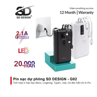 Sạc dự phòng chính hãng SD DESIGN G02 dung lượng 20.000 mAh với đầy đủ chân sạc cho iphone, samsung, xiaomi - SD-G02 thumbnail
