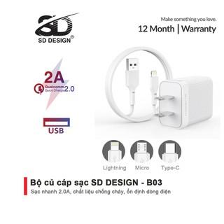 Bộ Củ + Cáp sạc SD DESIGN B03 chính hãng đầy đủ chân sạc Lingtning, typeC, micro thích hợp cho tất cả thiết bị di động - SD DESIGN B03 thumbnail