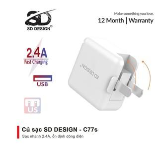 Củ sạc chính hãng SD DESIGN C77s chân gập 90 độ nhỏ gọn, tiện lợi, thích hợp sử dụng cho mọi thiết bị di động - SD-C77S thumbnail