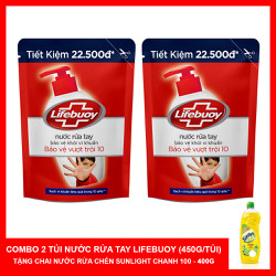 Combo 2 Túi Nước Rửa Tay Lifebuoy (450g/Túi) - Tặng Nước Rửa Chén Sunlight 400g