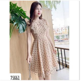 Đầm chấm bi kết nớ màu y hình - đầm xoè nữ chấm bi dạo phố dự tiệc cao cấp có hình vải thật - T441 thumbnail