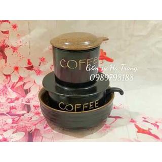bộ phin pha cafe gốm sứ Bát Tràng cao cấp men đen lòng nâu gốm hạt tiêu có bát ngâm - HT001928 thumbnail
