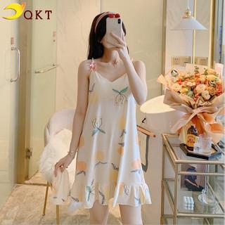 Đầm váy thun mặc nhà, váy ngủ 2 dây có nệm ngực hình quả cam xinh xắn vn01 - vn01. thumbnail