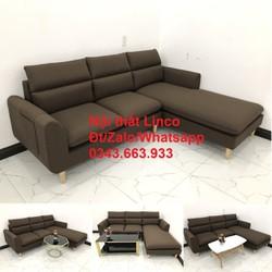 Bộ ghế sofa góc L phòng khách màu nâu cafe sữa đậm giá rẻ ở Nội thất Linco Huyện Nhà Bè HCM SG