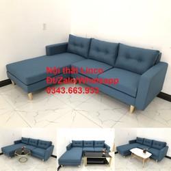 Bộ ghế salon sofa góc chữ L đẹp phòng khách 2m2 giá rẻ màu xanh dương nước biển nhạt ở Huyện Nhà Bè HCM SG