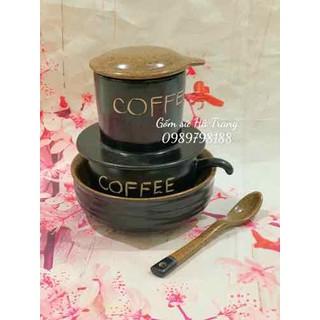 bộ phin pha cafe gốm sứ Bát Tràng cao cấp men đen lòng nâu gốm hạt tiêu có bát ngâm có thìa - HT001927 thumbnail