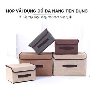 Combo 2 hộp vải đựng đồ - Thùng đựng quần áo có nắp đậy tiện dụng - B2HV-1 - S2HVCDD thumbnail