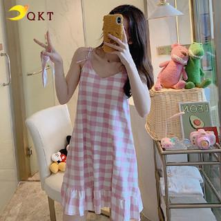 Đầm thun mặc nhà, váy ngủ 2 dây kẻ caro dễ thương vn03 - vn03, thumbnail