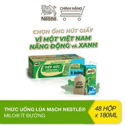 [Phiên bản ống hút giấy] Thùng 48 hộp sữa lúa mạch Nestlé Milo ít đường (48x180ml)