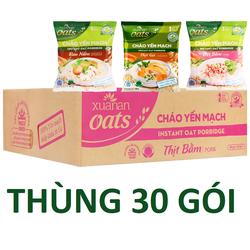Thùng 30 Gói Cháo Yến Mạch - Rau Nấm - Thịt nằm - Thịt gà Xuân An (40g x 30 gói/thùng)