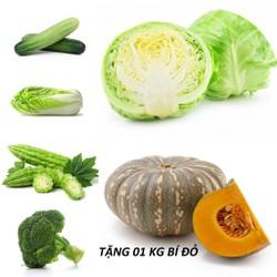 [CHỈ GIAO HCM] Combo 1kg Bắp cải + 1kg Súp lơ + 1kg Cải thảo + 1kg Khổ qua + 1kg Dưa leo - Tặng 1kg Bí đỏ