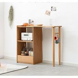 Bàn ăn / bàn quầy bar kết hợp tủ đựng đồ thông minh hiện đại gỗ tự nhiên