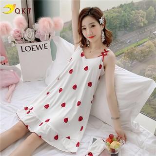 Váy ngủ, váy mặc nhà QKT 2 dây hình dâu, vải mềm mịn vn21 - vn21... thumbnail