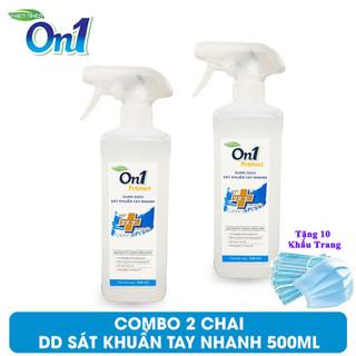 [Tặng 10 Khẩu Trang Y Tế] COMBO 2 Chai Xịt sát khuẩn tay nhanh On1 Protect - 500ml (Dạng xịt phun sương) - ON-CX2CB thumbnail