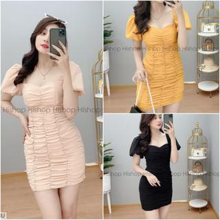 Đầm nữ body nhún 2 lớp - đầm hở lưng nữ cao cấp lụa 100d - T363 thumbnail