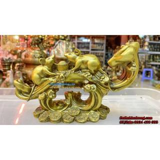 Tượng Linh Vật Đôi Chuột Cầm Nén Vàng Ngồi Gậy Như Ý Bằng Đồng Phong Thủy [ĐƯỢC KIỂM HÀNG] 48276046 - 48276046 thumbnail