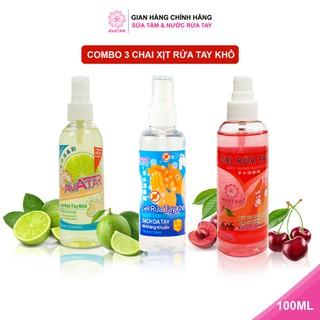 Combo 3 chai xịt rửa tay hương Cherry, Chanh mát và Không mùi Làm Sạch Vượt Trội, X3 Dưỡng Ẩm Không Gây Khô Da AVATAR - COMBO 3 CHAI XỊT 100ML ( CHERRY , CHANH , CỒN thumbnail