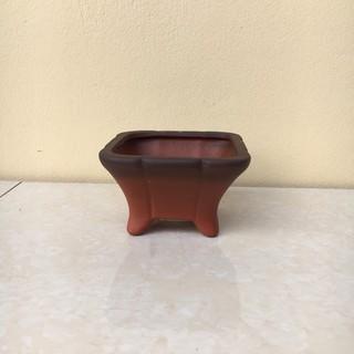 Chậu bonsai Vuông loe mini đất nung gốm Bát tràng 1 size BM-34 - 7093834611 thumbnail
