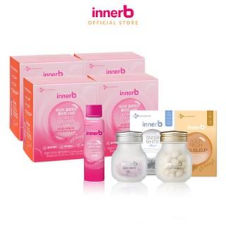 Combo thực phẩm bảo vệ sức khỏe InnerB Aqua Rich Doubleup (56 viên) + Innerb Snow White (28g) & 4 hộp 6 chai nước uống Collagen vitamin C sáng da InnerB Glowshot (50ml x 6) - TUINB00043CB thumbnail