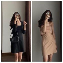Bộ Váy 2 Dây Áo Khoác Dài Tay Nữ ,  Áo Khoác Mỏng Kèm Đầm 2s CHUẨN CAO CẤP  Local Brand  Korea