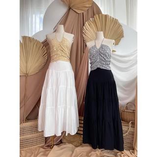 [Ảnh thật] Chân váy midi xếp tầng tơ xước có lót dễ kết hợp siêu xinh kool - V004 thumbnail
