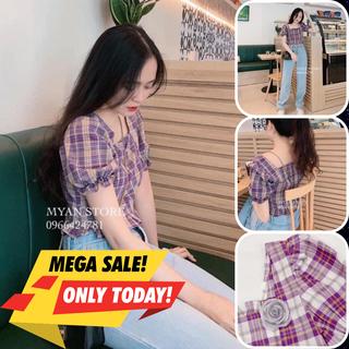 Áo kiểu nữ, áo nữ sọc caro màu tím cổ vuông đủ size S M L A-02 - A-02 thumbnail