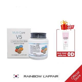 [TẶNG SỮA RỬA MẶT 150ML] Kem dưỡng trắng, chống lão hóa, tái tạo da, ngăn ngừa mụn Rainbow L affair Multi care V5 Ultimate Solution Cream Madeca 90 ml - MDC thumbnail