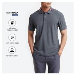 Áo Phông Nam Ninomaxx có cổ màu xám đậm 100% Cotton dáng Regular Fit
