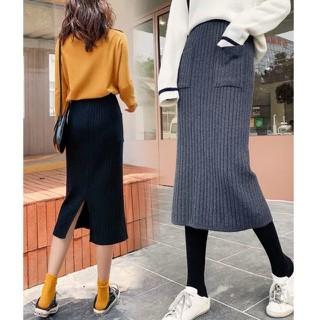MS042 Chân váy len midi xẻ tà túi vuông - MS042 thumbnail