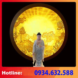 ĐÈN THỜ Tranh trúc chỉ in MÂU NI, Sen tỏa- đường kính 30cm, (thích hợp đặt tượng thờ cao 15cm đến 30cm), đèn thờ, tượng phật - tranhtrucchiin13 thumbnail
