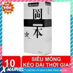 Bao cao su Okamoto Vanilla siêu mỏng siêu mềm cao cấp hương Vani thơm nhẹ hộp 10 chiếc /áo mưa