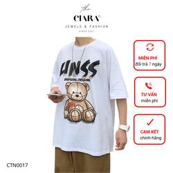 Áo Thun Tay Lỡ CIARA [𝐒𝐈𝐄̂𝐔 𝐒𝐀𝐋𝐄] Áo Phông Cotton Nam Nữ Unisex - Hình in GẤU UNSS Local Brand Oversize Form Rộng - CTN0017