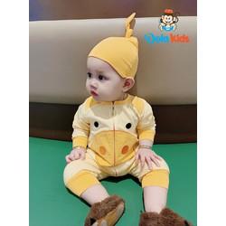 Quần áo trẻ em, trẻ sơ sinh hình thú Heo Con mũ rời vải cotton dài tay cho bé 4 - 15 kg