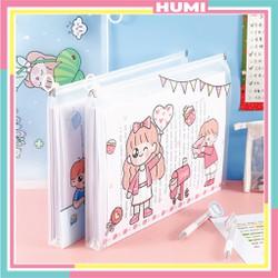 Túi Đựng Tài Liệu A4 Đa Năng Trong Suốt Có Khóa Kéo In Hình Cute Girl - HUMI