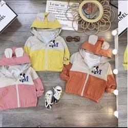 Áo gió lót lông trẻ em 8-20kg cực dày dặn, ấm áp mẫu Mickey dành cho cả bé trai và bé gái 1-4 tuổi