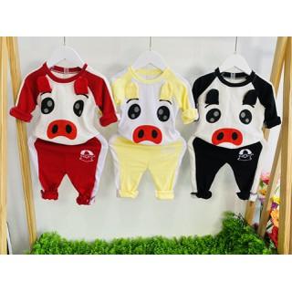 Bộ quần áo thu đông trẻ em 7-17kg mẫu Heo ngộ nghĩnh dành cho cả bé trai và bé gái - Set Heo thumbnail
